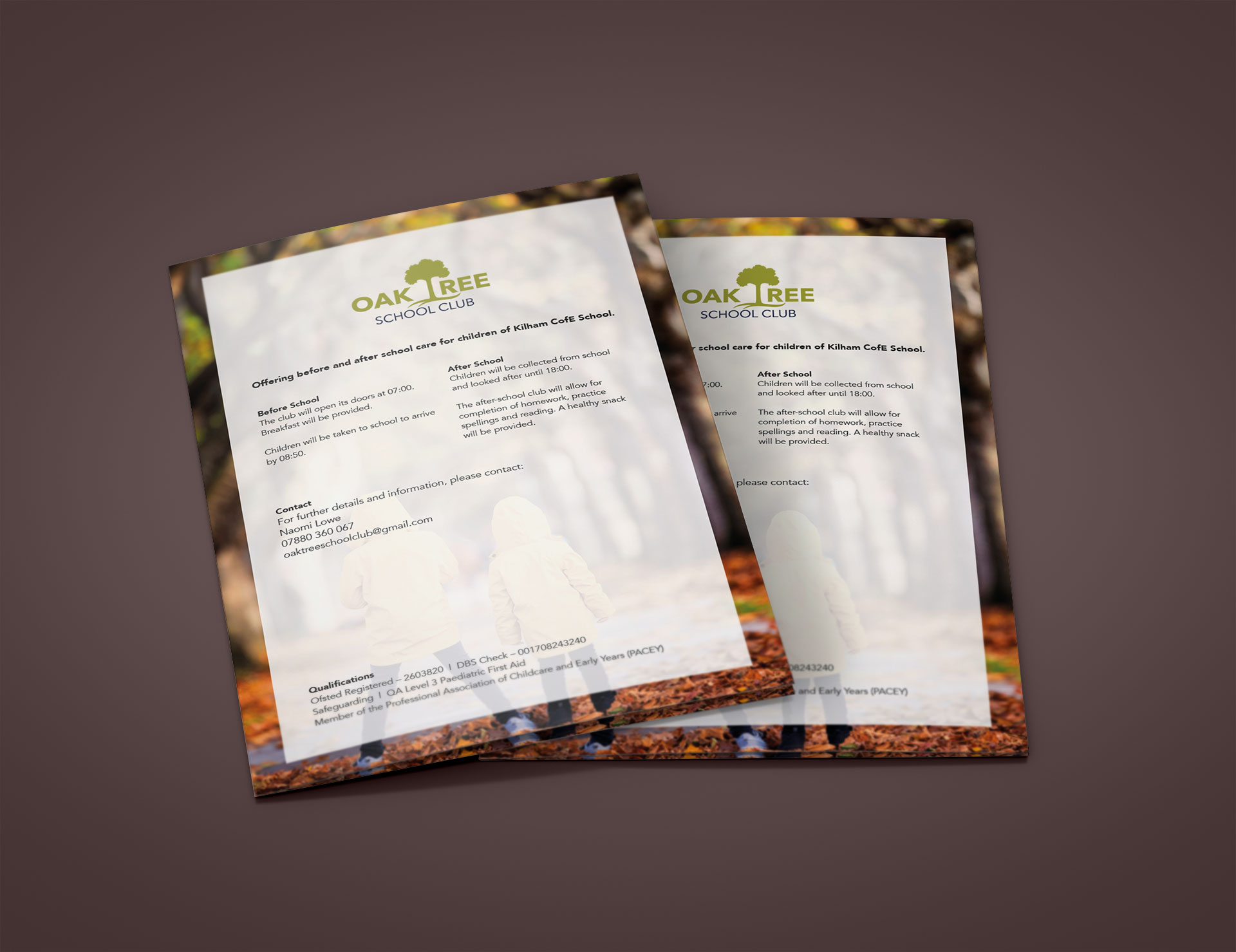 Oak Tree School Club Flyer Details