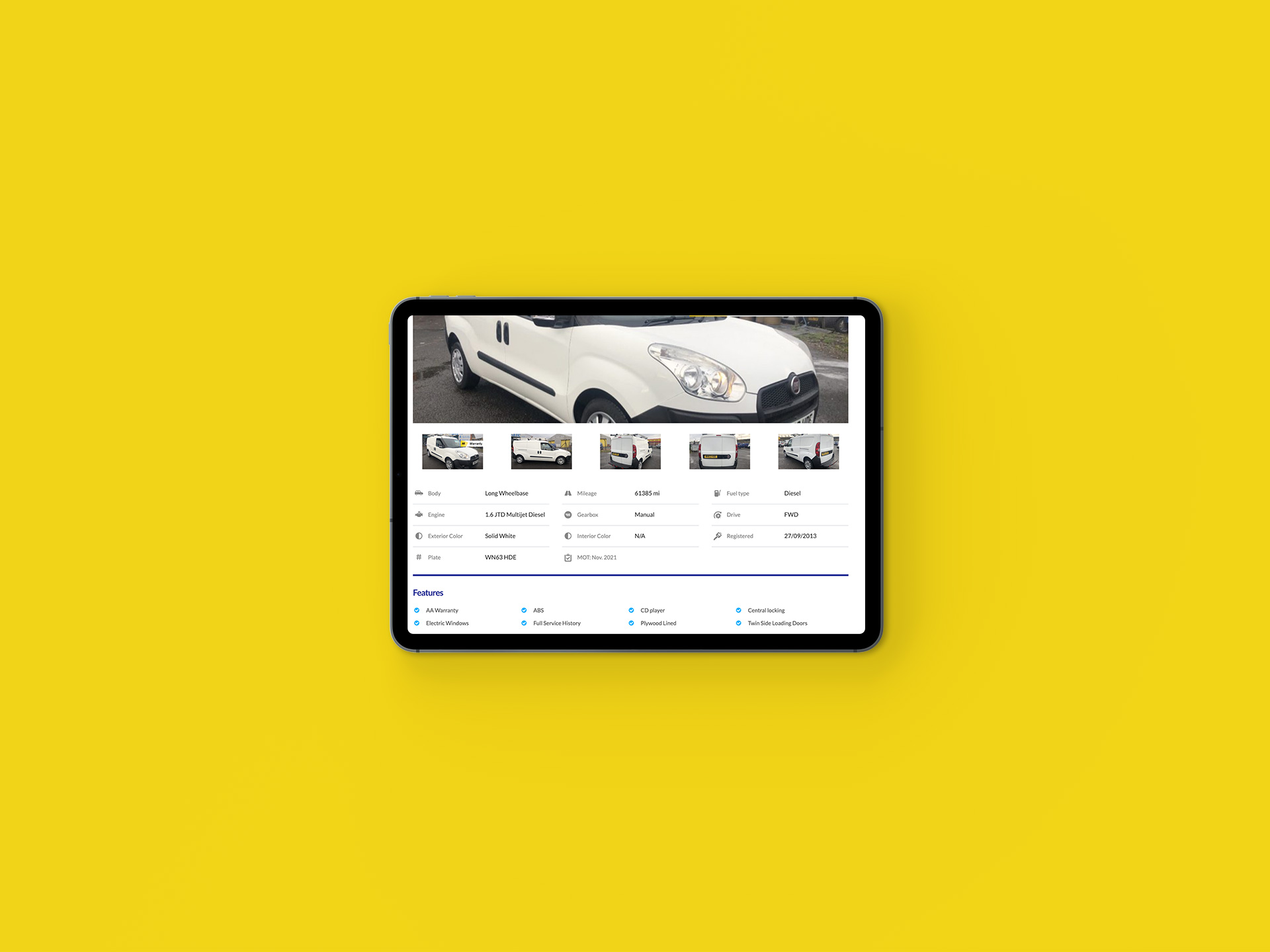 Vanz4sale Showroom iPad Details