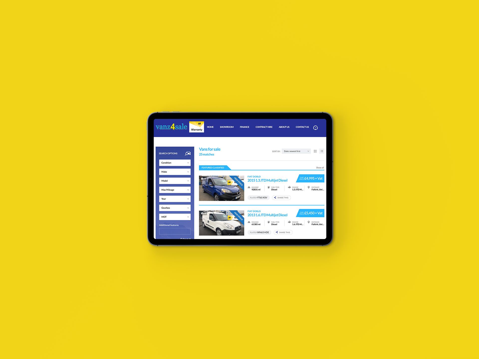 Vanz4sale Showroom iPad